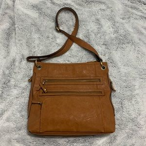 Cute brown leather purse/tote great size!